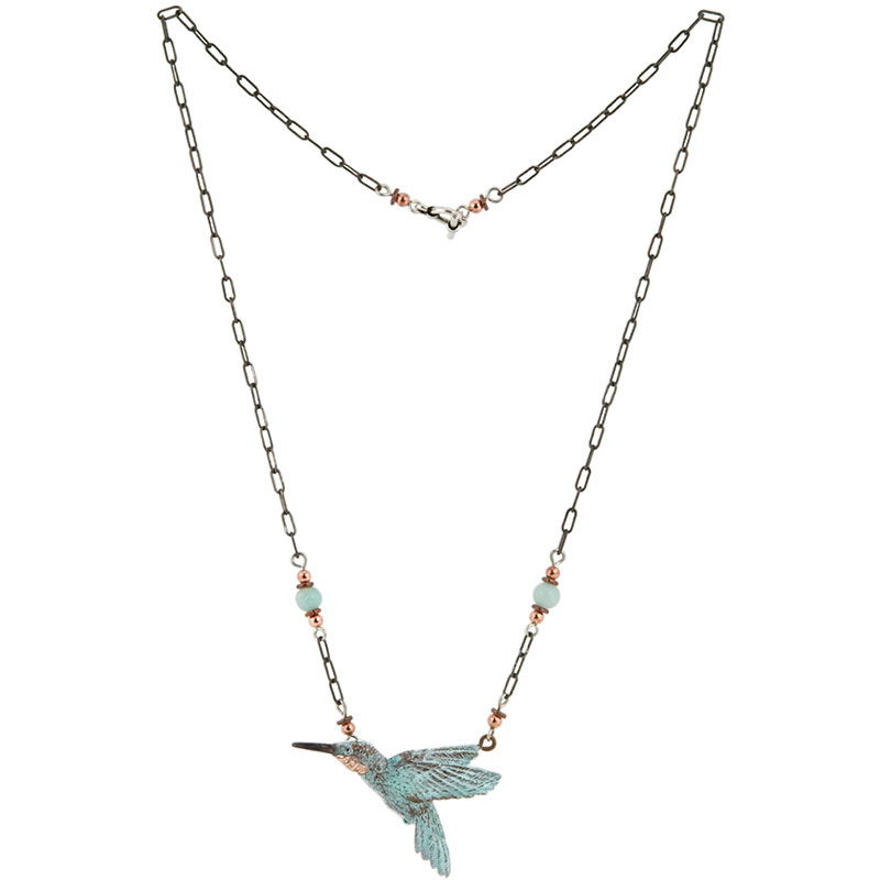 Hummingbird Necklace -- Heishi beads and polished stones complement the antiqued silver 20 inch necklace.