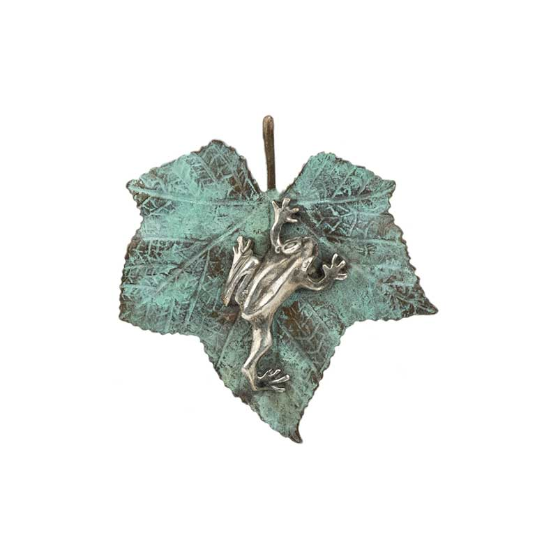 Silver Tree Frog on Bronze Thimbleberry Leaf Pin