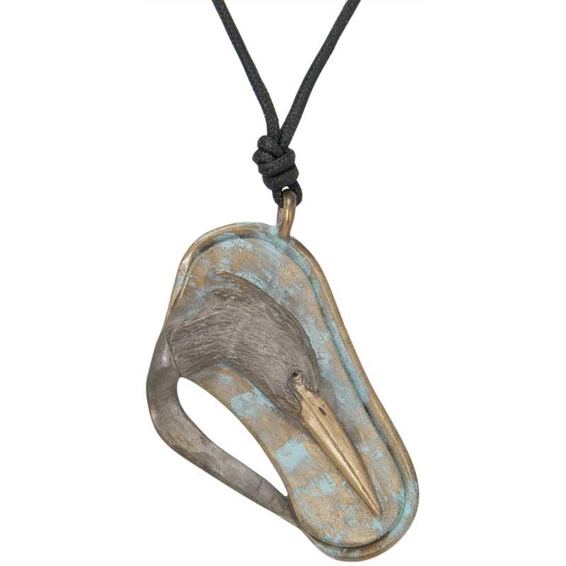 Heron Bas Relief Pendant, Bronze