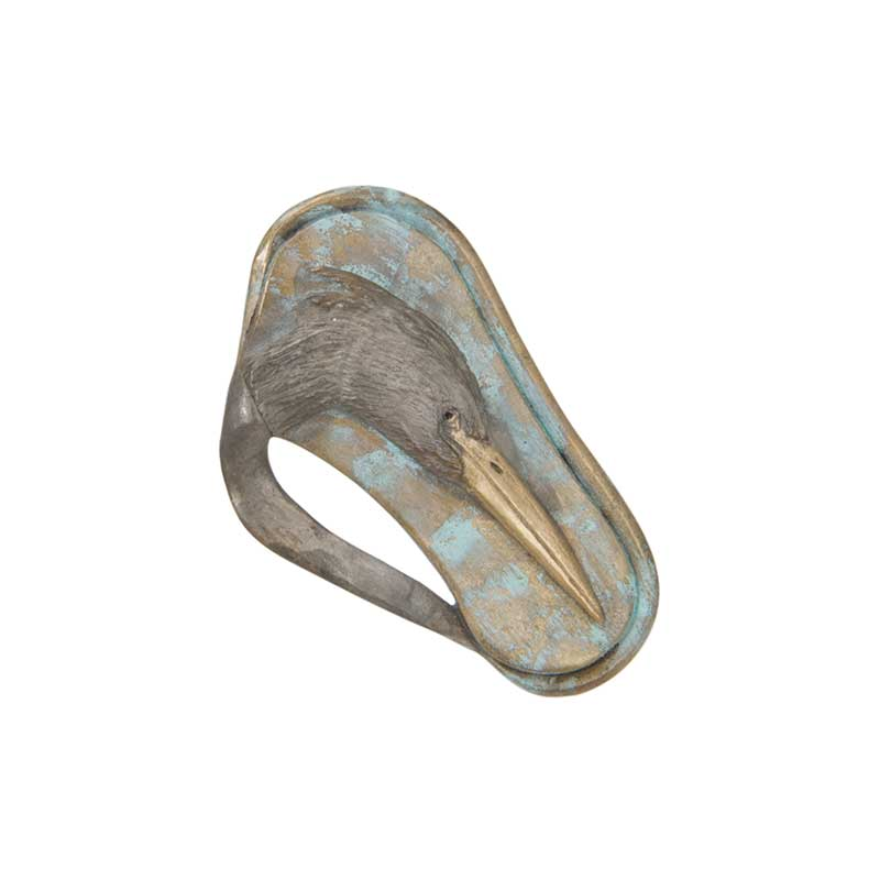 Heron Bas Relief Pin, Bronze