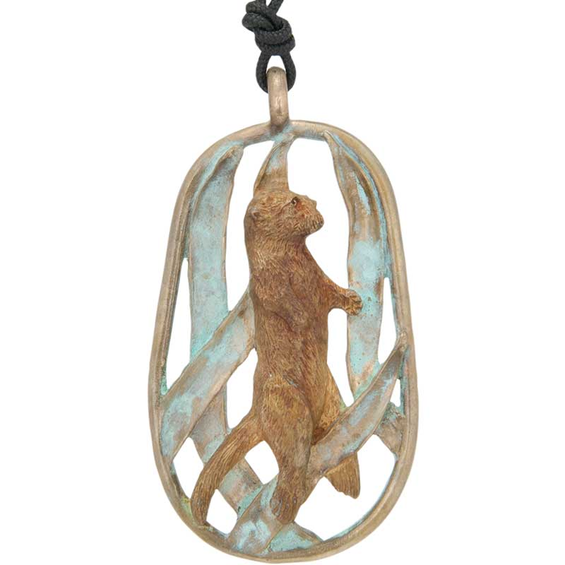Otter in Kelp Pendant, Bronze