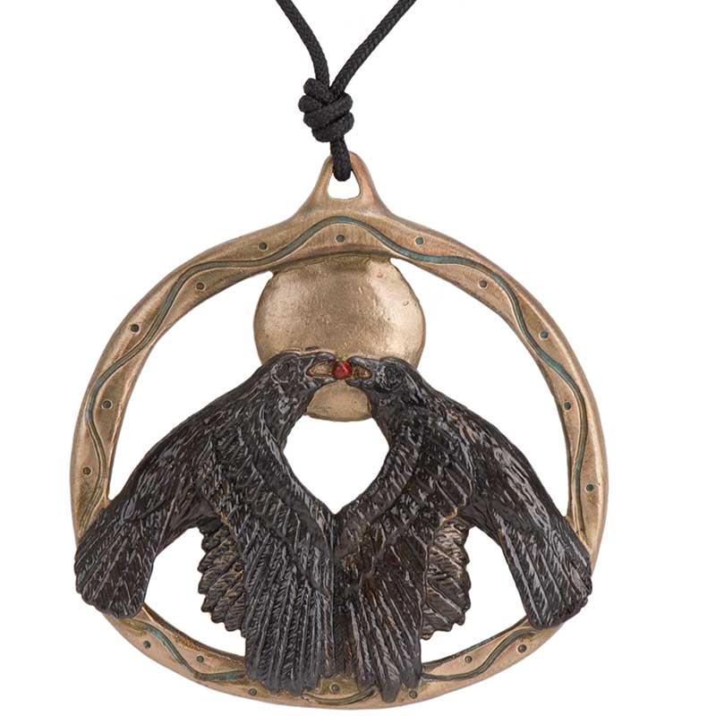 Ravens Harvest Moon Pendant, Bronze