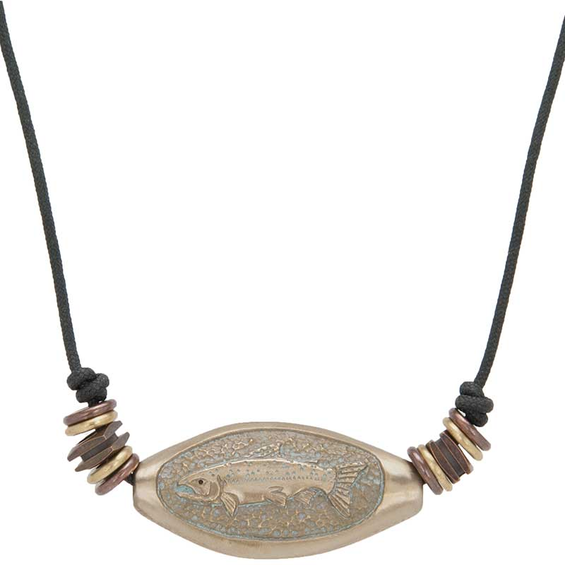 Salmon and Bones Amulet, Bronze