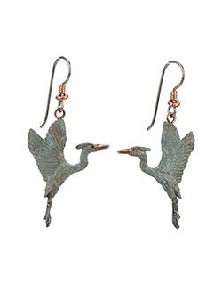 Heron Rising Earrings, Fishhook