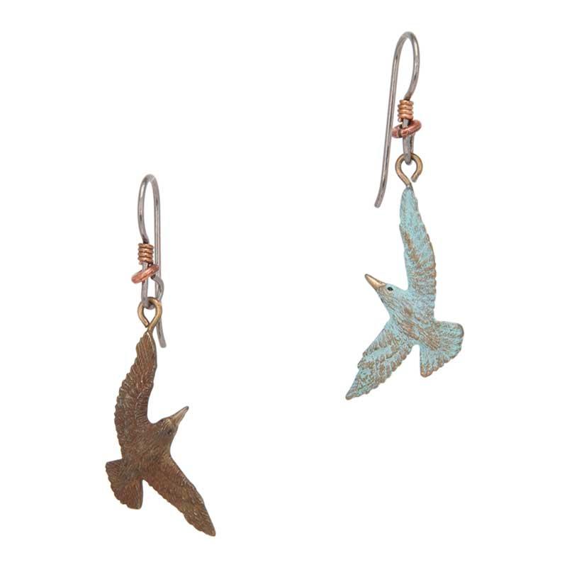 Tern Earrings, Bronze