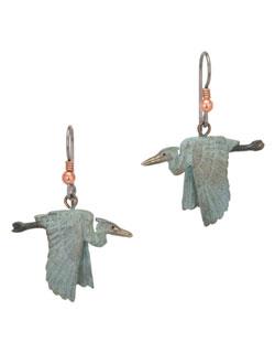 Heron in Flight Earrings, Fishhook