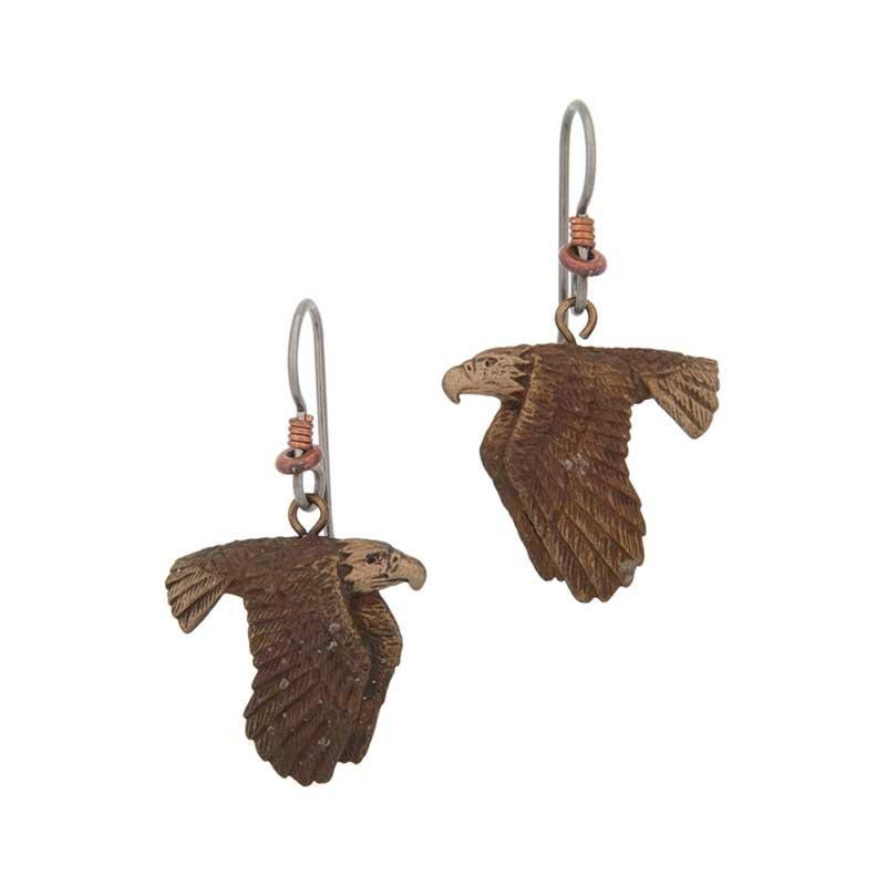Flying Eagle Earrings, Bronze