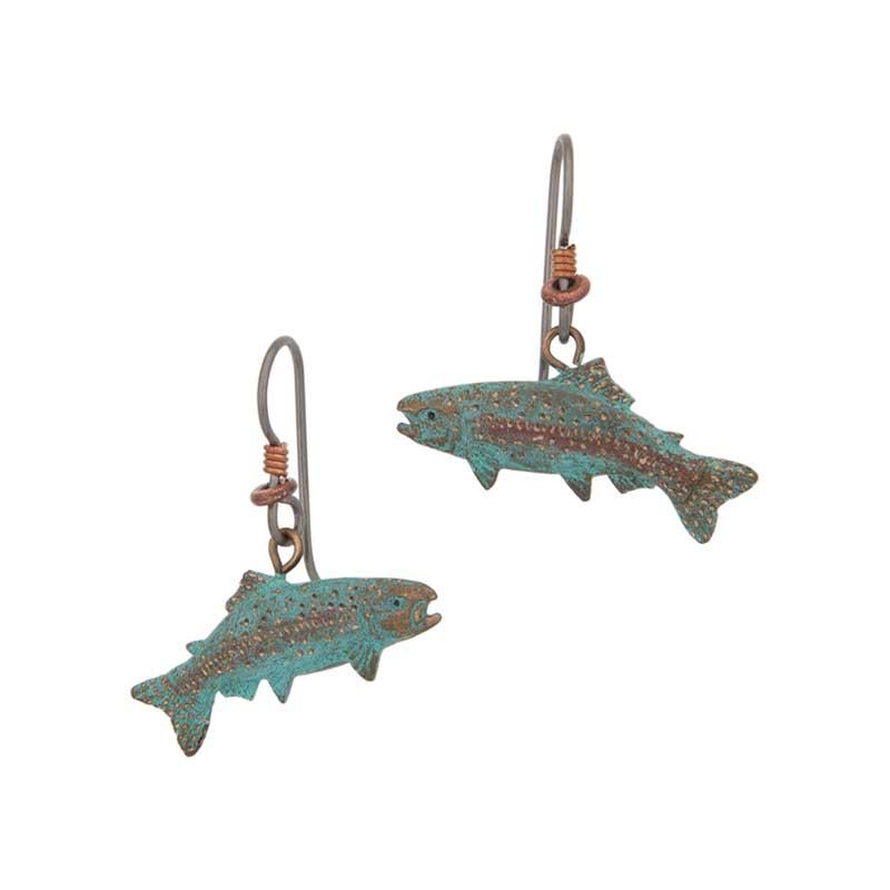 Rainbow Trout Earrings, Bronze