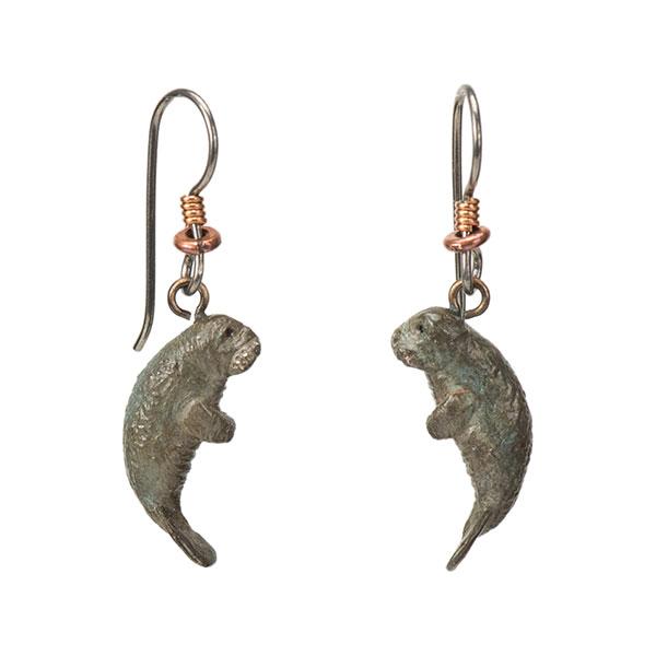 Manatee Earrings, Bronze