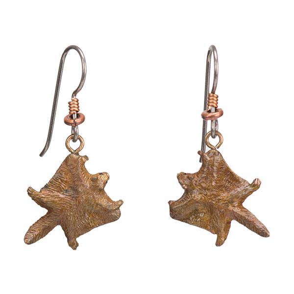 Flying Squirrel Earrings, Bronze