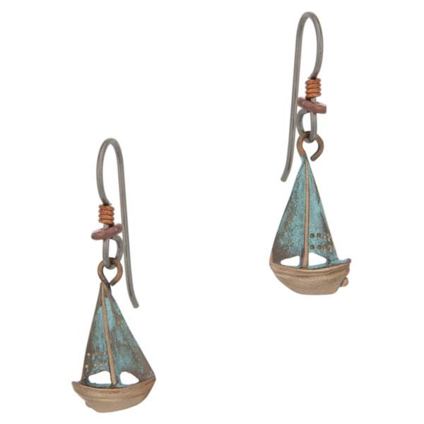 Buzzard's Bay Sailboat Earrings, Bronze