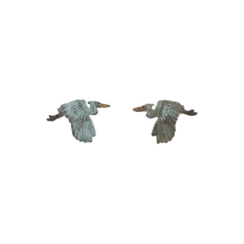 Heron Flying Earrings, Post, Bronze