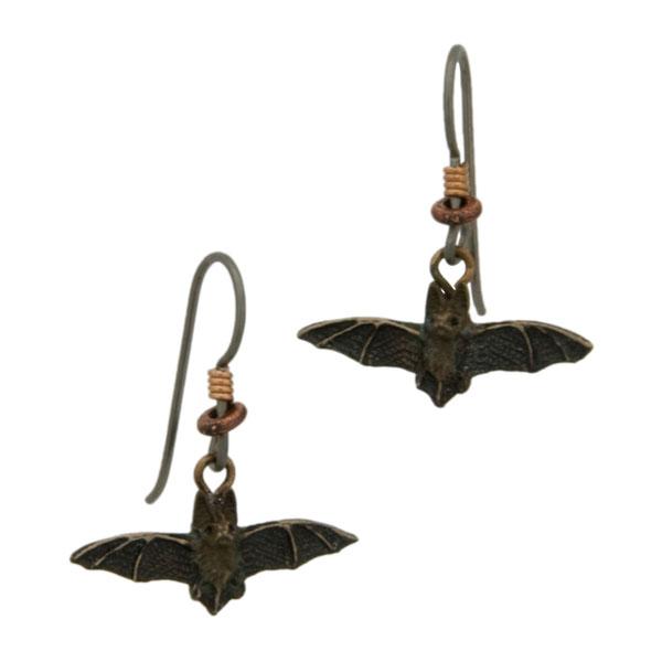 Long-Eared Bat Earrings, Bronze