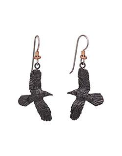 Raven Earrings, Fishhook
