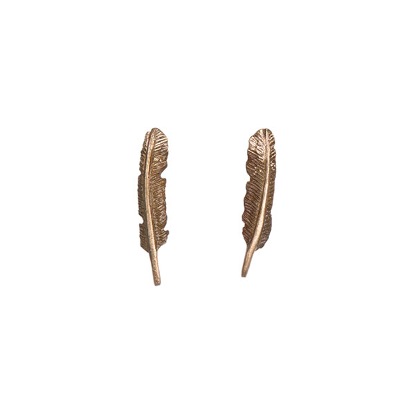 Eagle Feather Earrings, Bronze