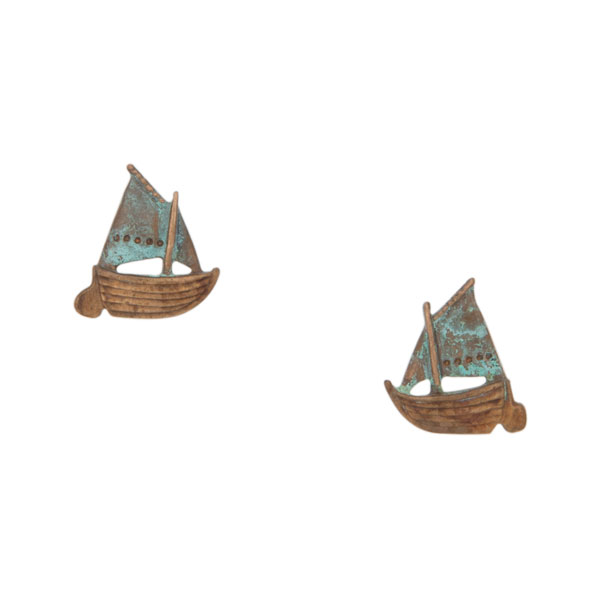 Gaff Rigged Sailboat Earrings, Post