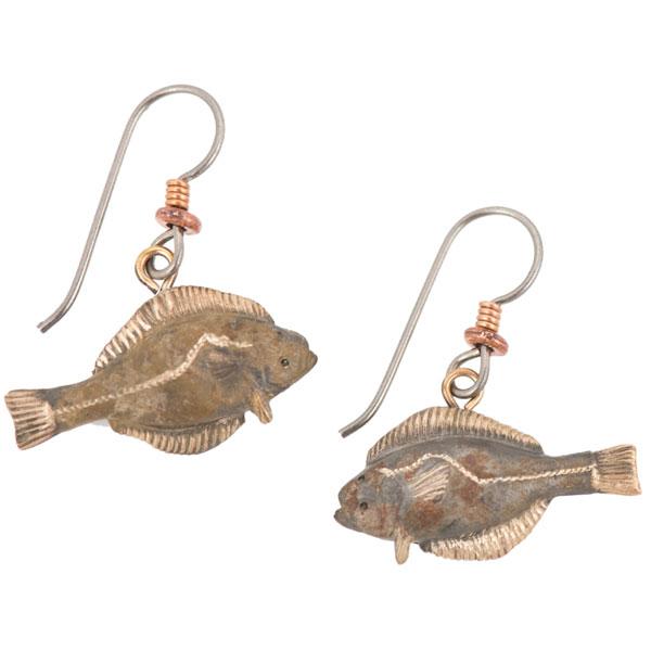 Halibut Earrings, Bronze