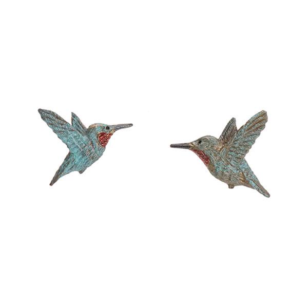 Mirrored Rufous Hummingbird Earrings, Post