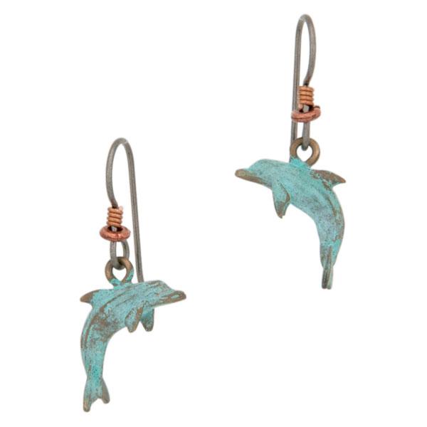 Dolphin Earrings, Bronze