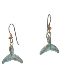 Whale Fluke  Earrings, Fishhook