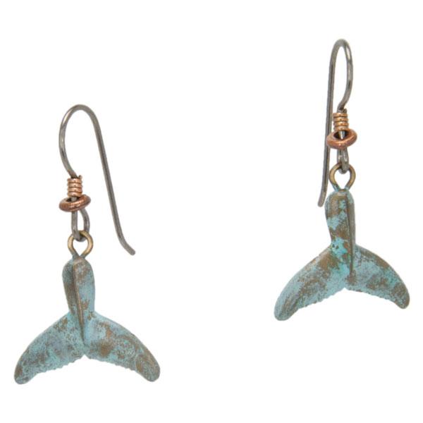 Whale Fluke Earrings, Bronze