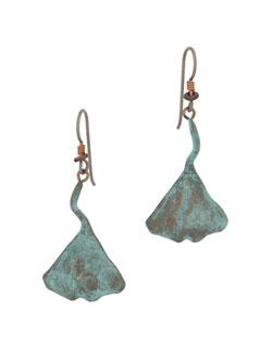 Ginkgo Leaf Earrings, Fishhook