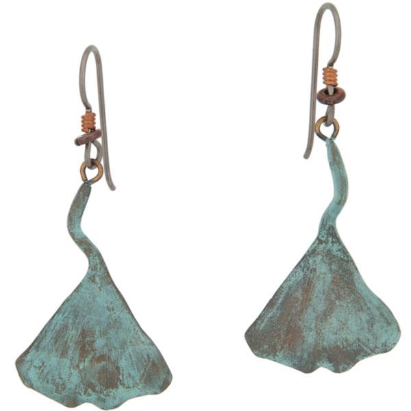 Gingko Leaf Earrings, Bronze