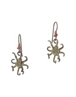 Octopus Earrings, Fishhook