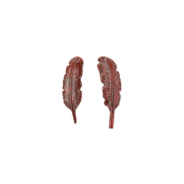 Cardinal Feather Earrings, Post