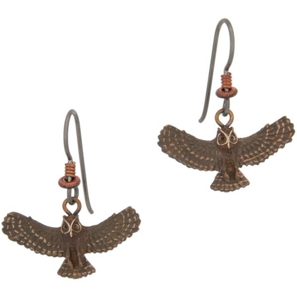 Great Horned Owl Earrings, Bronze