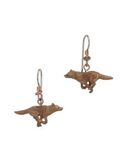 Running Wolf  Earrings, Fishhook