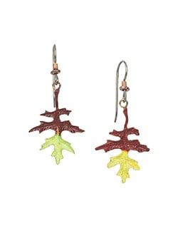 Oak Leaf Earrings, Fishhook