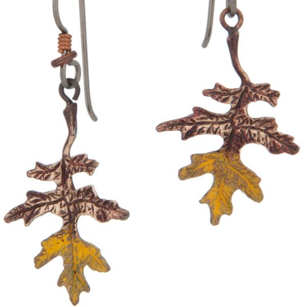 Oak Leaf Earrings, Bronze