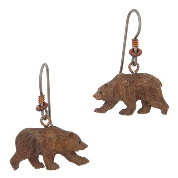 Grizzly Bear Earrings, Fishhook