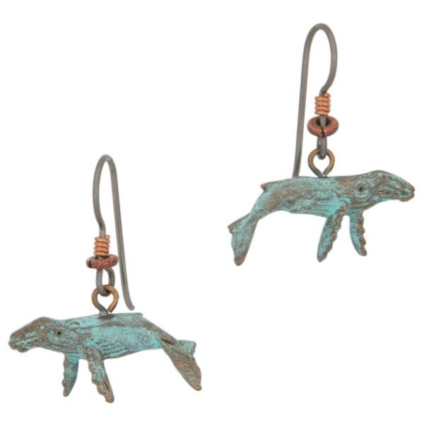 Humpback Whale Earrings, Bronze