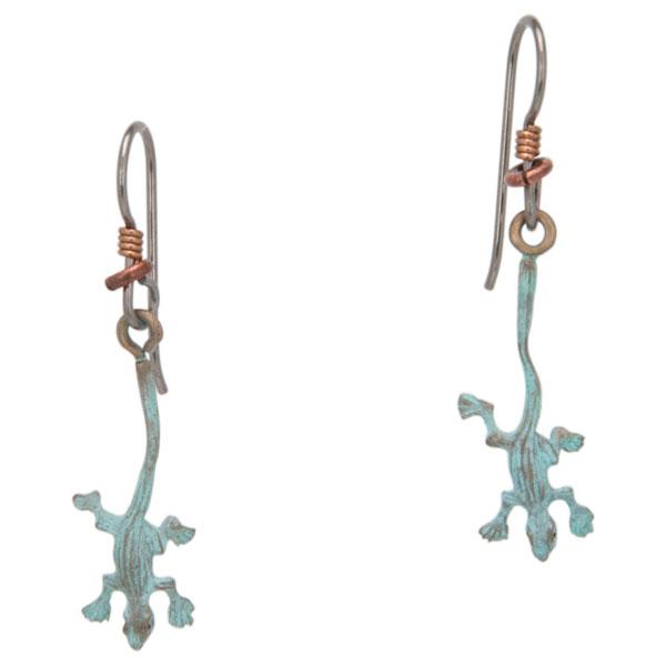 Lizard Earrings, Bronze