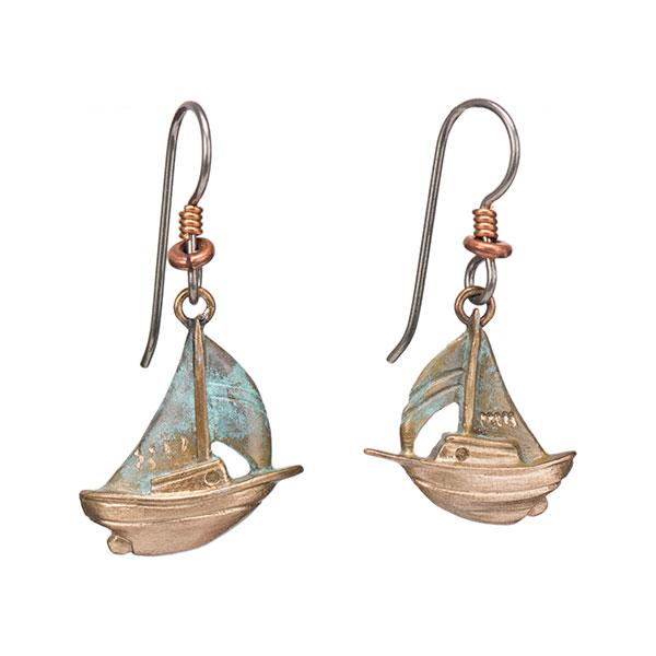 Marconi Sloop Earrings, Bronze