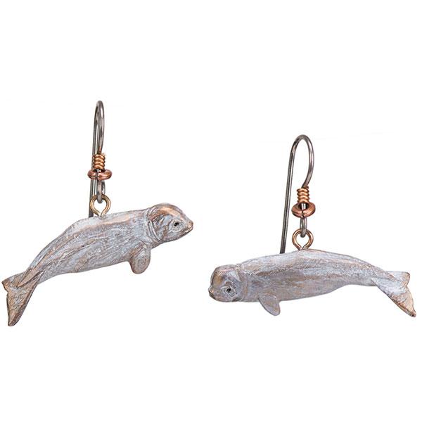 Beluga Whale Earrings, Bronze