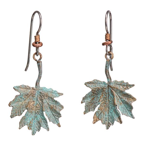 Maple Leaf Earrings, Bronze