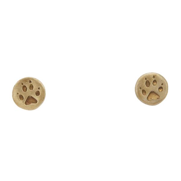 Wolf Print Earrings, Post, Bronze