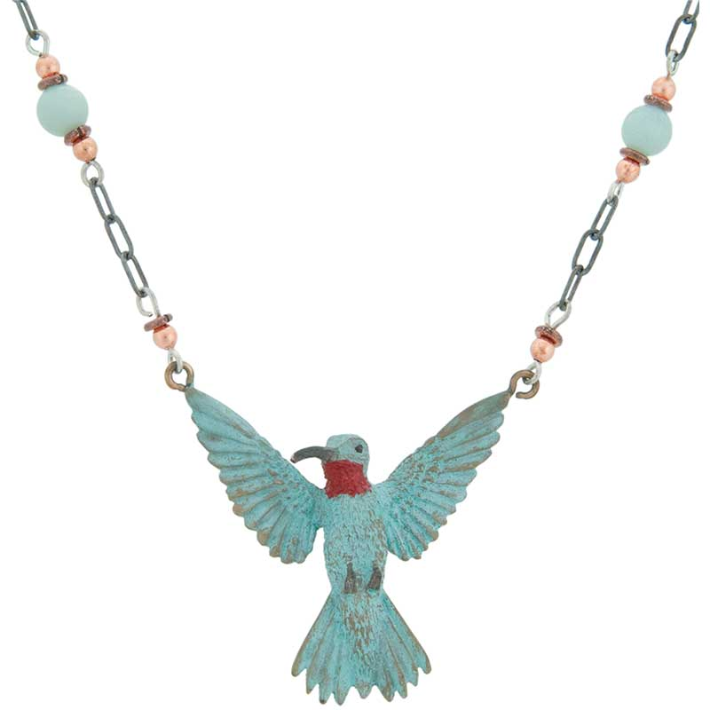3-D Hummingbird Necklace by Cavin Richie :  The chain is 24 inches long with a toggle clasp. Heishi beads and polished stones complement the antiqued sterling silver chain.