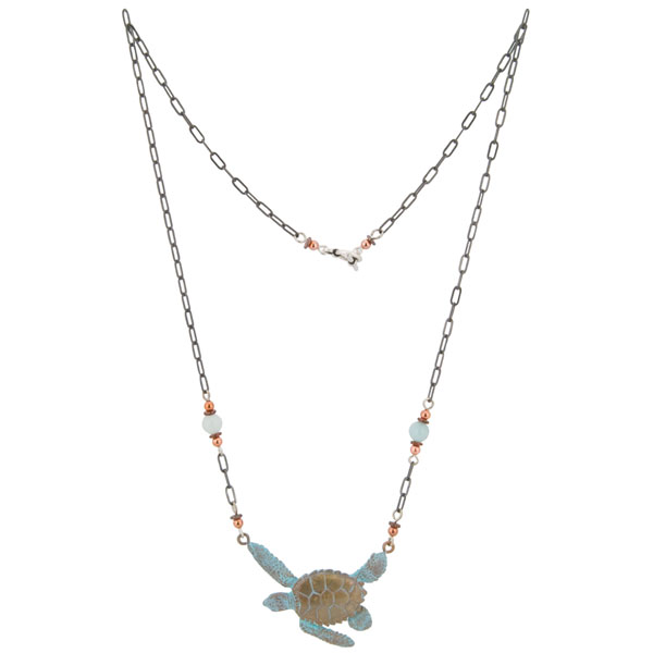 Copper, heishi and amazonite beads decorate the 20 inch antiqued silver chain of the Sea Turtle Necklace.