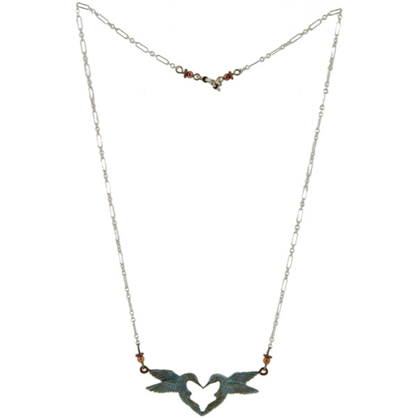 Hummingbird Heart Necklace -- Copper beads tip the ends of the 18 inch sterling silver chain with a toggle clasp.