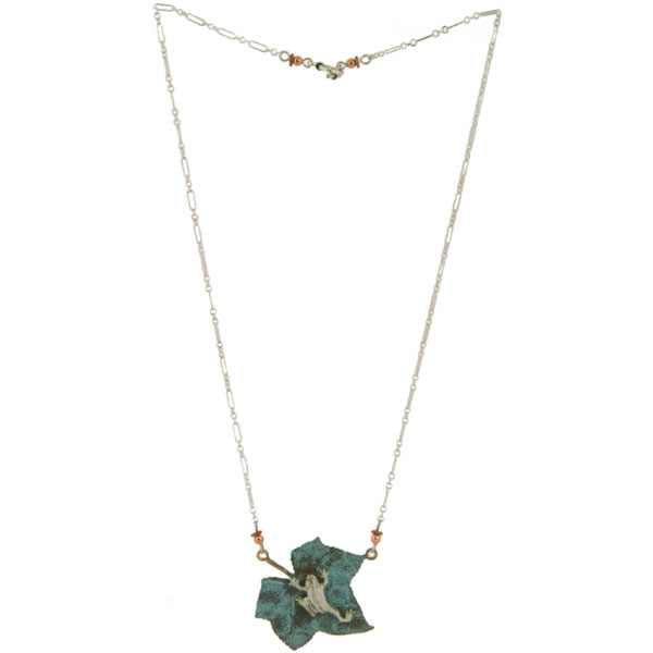 Silver Tree Frog Necklace. The sterling silver chain is 20 inches long and has a toggle clasp.