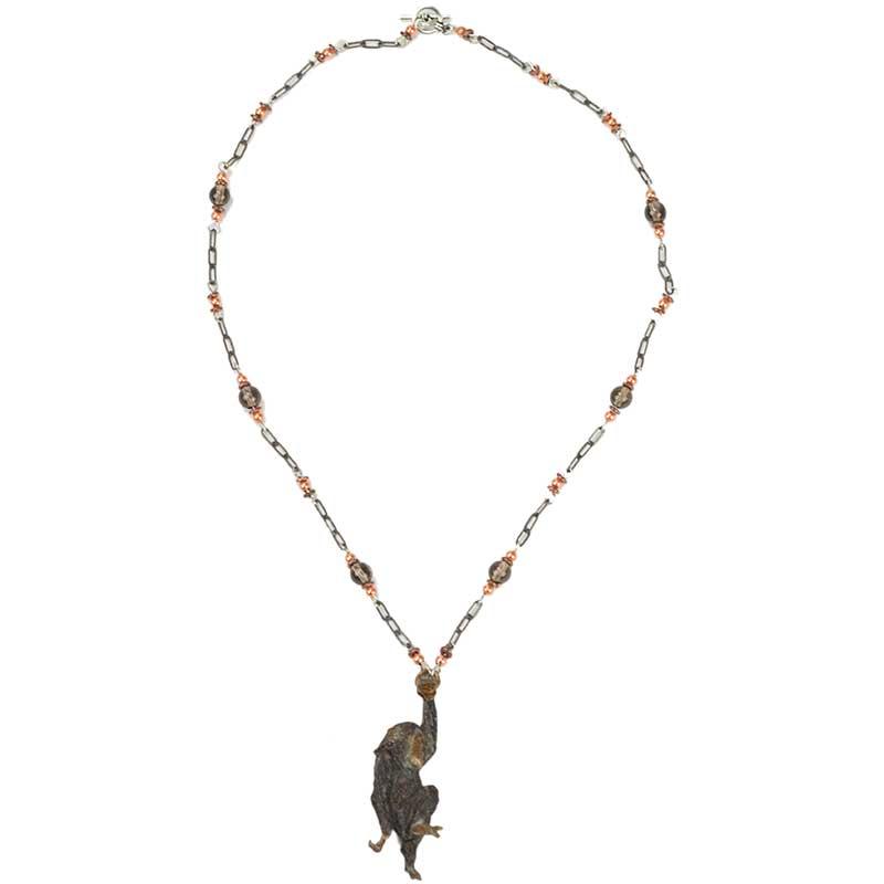 Swinging Chimp Necklace, Bronze