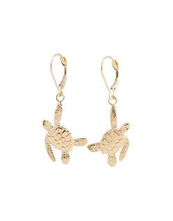 Sea Turtle Earrings, 14 kt. Gold