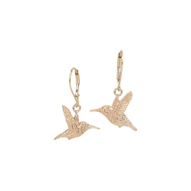 Mirrored Rufous Hummingbird Earrings, 14 kt. Gold