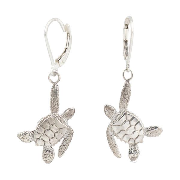 Sea Turtle Earrings, Sterling Silver