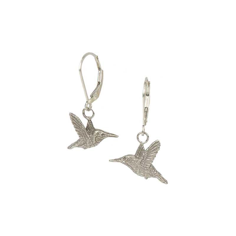 Mirrored Rufous Hummingbird Earrings, Sterling Silver