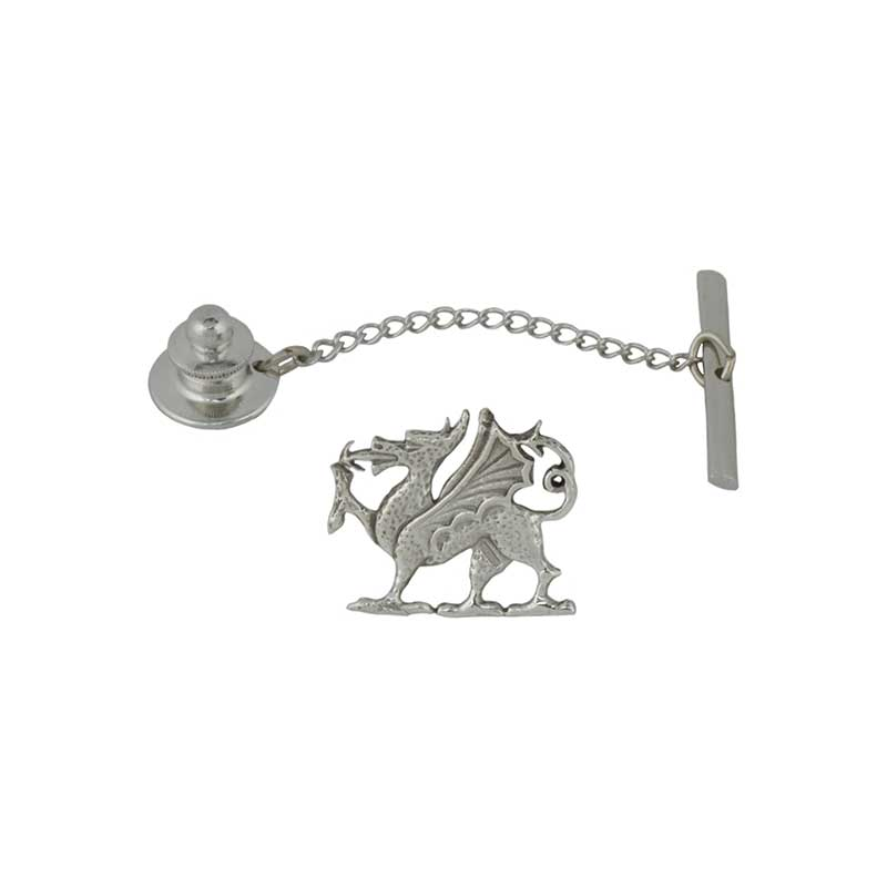 Welsh Dragon Tie Tack, Sterling Silver